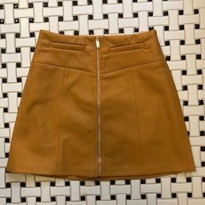 Mustard Bershka vegan leather skirt